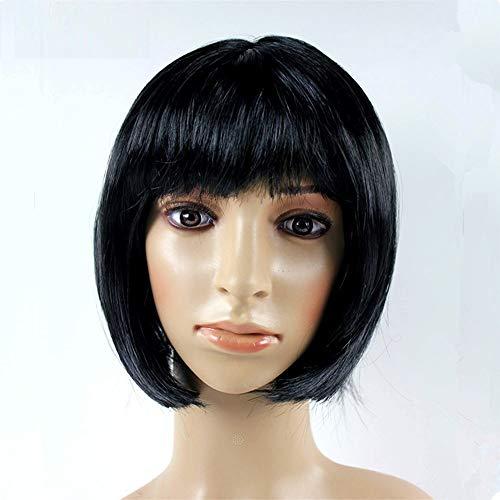JKL African Female wig Short Hair wig Black Hair wig Small Volume Explosion Headgear European and American Hot wig Set (Color : Noir)
