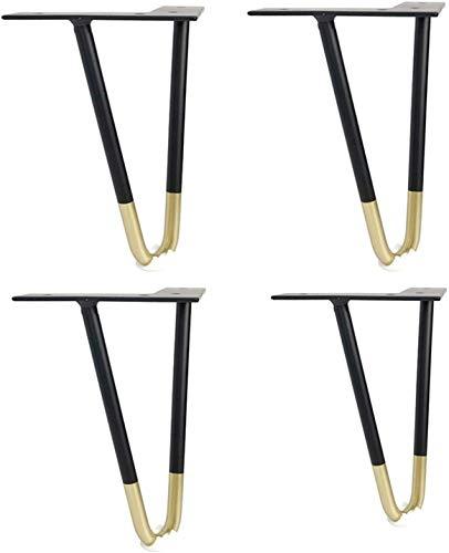 4 patas de horquilla de metal para patas de mesa, horquillas, patas de metal para muebles, para armario, sofá, estante otomano, color negro (40 cm, negro + dorado)