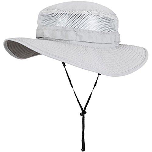 SDGERJNN Der Sommer Herren Sonnenhut Sonnencreme Fisherman's Hut im Freien Männer Becken Cap Angeln Gap schnell trocknend Klettern hat, XXL (63 cm), Hellgrau