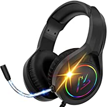 RGB Gaming Headset with Mic for PS4 PS5 Xbox one PC, Stereo Gamer Headphones with Noise Cancelling Microphone, Stereo Headset Soft Memory Earmuffs for Laptop Mac Nintendo Switch Games (black-G10)