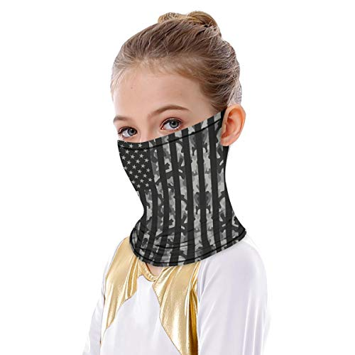 American Flag Neck Gaiter with Ear Loops Face Cover Bandana for Kids Boys Girls Stars Stripes Rave Ear Hangers Balaclava Unisex Face Covering Headwrap Cycling Hunting Seamless Scarf Fishing Headwear