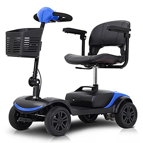 Patinete De Movilidad Plegable De 4 Ruedas para Adultos Mayores Discapacitados, Patinete Eléctrico De Movilidad con Timón Y Cesta Plegables, Patinete De Viaje Portátil, Batería De 12 Ah