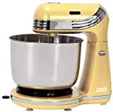 Dash Everyday Electric Stand Mixer with 3 qt Stainless Steel Mixing Bowl, Dough Hooks + Beaters for Dressings, Frosting, Meringues & More, 6 Speed - Yellow
