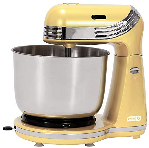 Dash Everyday Electric Stand Mixer with 3 qt Stainless Steel Mixing Bowl, Dough Hooks + Beaters for Dressings, Frosting, Meringues & More, 6 speed, Yellow