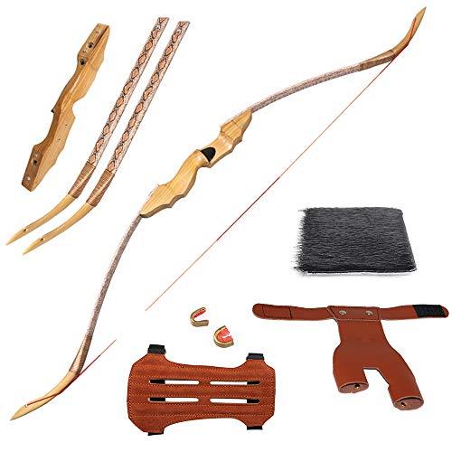 Huntingdoor 53zoll 35-50lbs Takedown Recurvebogen Traditionelle Bogenschießen Recurvebögen Langbögen Bogen aus Holz Jagdbogen Sportbogen für Bogenschießen Rechtshand (35)