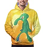 CARRYFUTURE Cute Funny Hoodies Squidward 3D Graphic Unisex Pullover Hooded Sweatshirts for Men/ Women-M Yellow