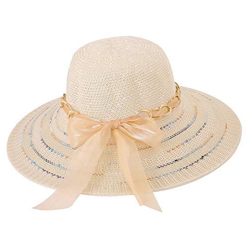 Fascigirl Sombrero De Verano De ala Ancha Cinta De Moda De Malla Sombrero De Playa con Lazo Decorativo para Mujeres Niñas Adolescentes Adultos