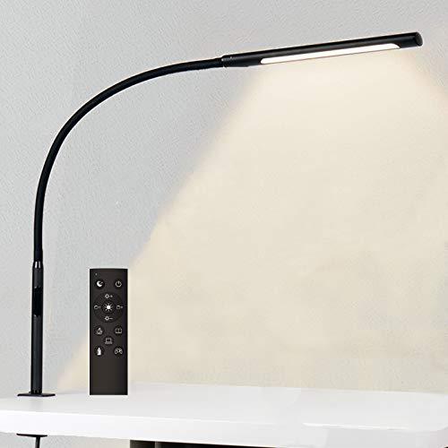 Eyocean LED Augenschutz Schreibtischlampe, Verstellbarer Schwanenhals Klemmleuchte, Einstellbare Dimmen & Farbtemperaturen, Berührungssteuerung Büro Tischlampe mit Fernbedienung, 12W, Mattschwarz