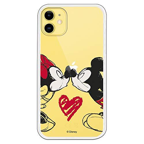 Funda para iPhone 11 Oficial de Clásicos Disney Mickey y Minnie Beso para Proteger tu móvil. Carcasa para Apple de Silicona Flexible con Licencia Oficial de Disney.