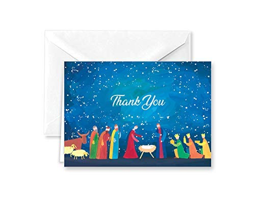 Paper Frenzy Abstract Nativity Christmas Religious Thank You Note Cards and White Envelopes - 25 pack