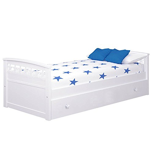 Cama Nido Estrellas (Colchón 105 X 190, Blanco)