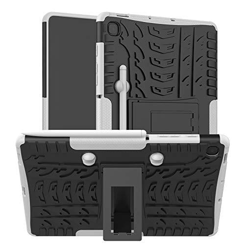 Dmtrab Para Samsung Galaxy S6 Lite Funda, Textura de neumáticos TPU + PC Cubierta Protectora a Prueba de Golpes con Titular y Bandeja de Pluma (Negro) Cajas de tabletas (Color : White)