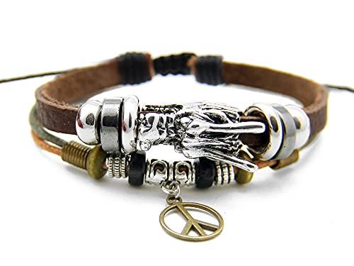 Agathe Creation YS693 - Pulsera tibetana de la buena suerte, cabeza de dragón, colgante de Peace and Love, piel, madera y perlas de metal, multicolor hecho a mano