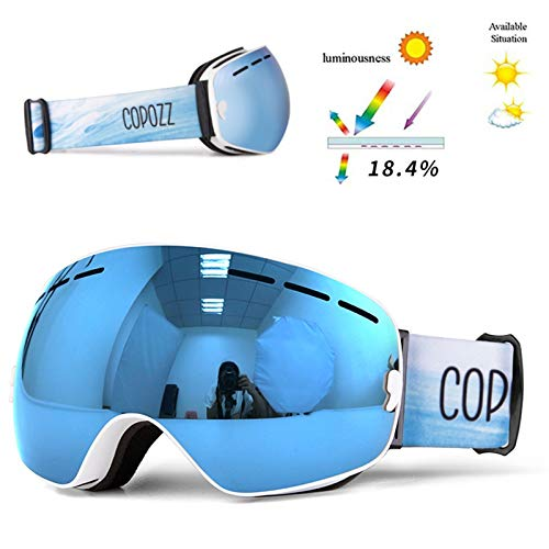 N\A Gafas de Snowboard de esquí Copozz Brand Professional Ski Goggles Capas Doble Capas Lente Anti-Fog UV400 Gafas de esquí Grandes Esquí Snowboard Hombres Mujeres Snow Gafas (Color : White Blue)