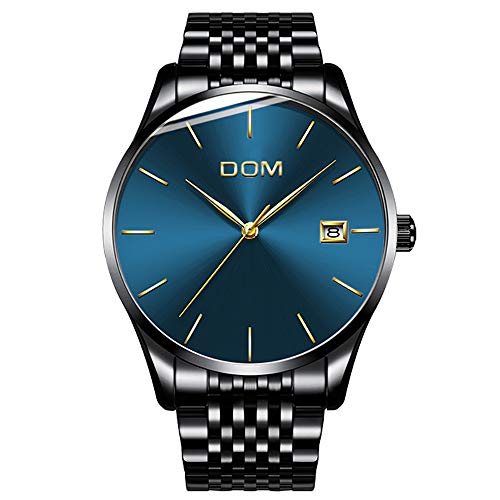 Men's Luxury Watches Ultra Thin Wrist Watch for Men Fashion Waterproof Analog Date Watch (Blue)