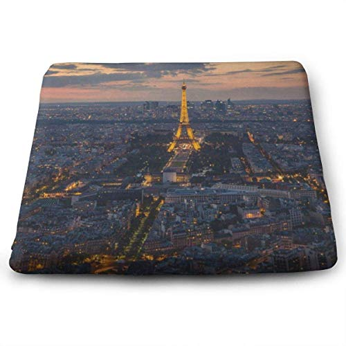 Square Seat Cushions Eiffel Tower City Premium Comfort Memory Foam Kitchen Chairs Pad