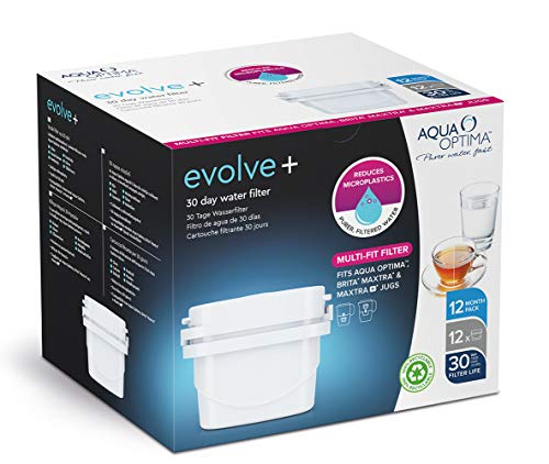 Aqua Optima 1 Pack 12 30 días Maxtra+ compatibles con Cartuchos de Filtro de Agua Evolve+, Blanco, 12 Pack