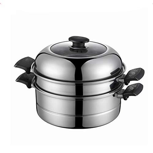 YALIXI Dampfgarer 28Cm 2 Tier Edelstahltopf, Mit Glasdeckel Und Griff, Zum Kochen Von Gemüse Und Fleisch Hühnchen/Lamm/Rindfleisch