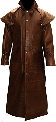 Mens Real Brown Leather Duster Riding Hunting Steampunk Van Helsing Trench Coat (T7-BRW) (Large)