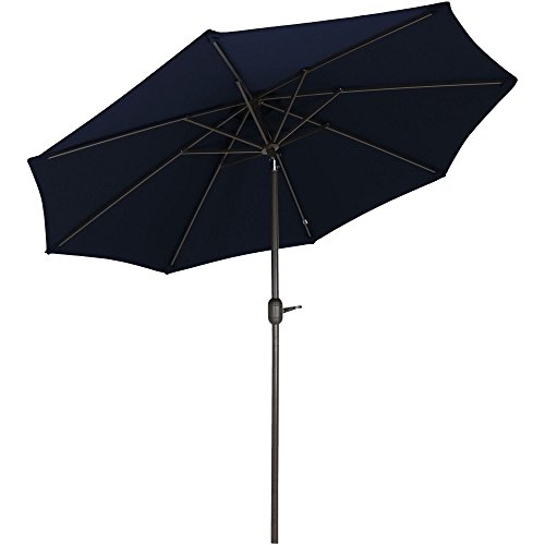 Sunnydaze Sunbrella Patio Umbrella with Auto Tilt and Crank, 9 Foot Outdoor Market Umbrella, Rust Resistant Aluminum, Sunbrella Navy Blue