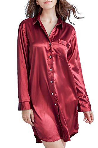 Nachthemd Damen, Satin Nachtkleid Langarm Nachtwäsche mit Knopfleiste Schlafhemd Freizeitkleidung (Burgund, XL)