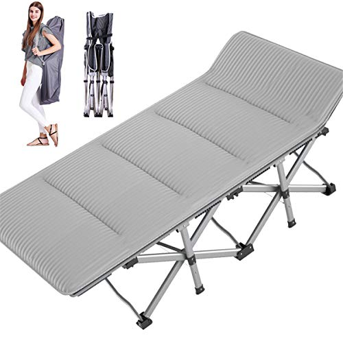 MOPHOTO Folding Cot Bed Camping Cot Supports 880lbs Tent Cot with Mattress Pad Double Layer 1200D Cloth Heavy Duty Extra Wide for Indoor Office Outdoor Hunting (C9 1200D Gray with Corduroy pad)