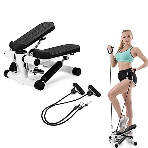 Escalera giratoria paso a paso con bandas de resistencia para arriba y abajo ejercicio paso a paso con pantalla LCD para entrenamiento en casa, piernas, brazo, ejercicio de entrenamiento de cuerpo c