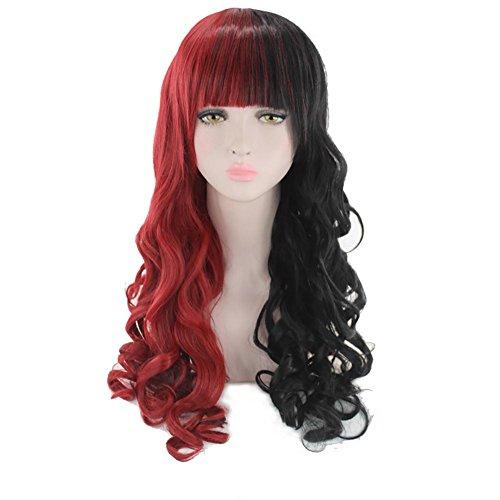 SMX&xh Perruques Perruques pour les femmes Curly Ombre pleine perruque Anime Costume naturel Synthétique perruque Mix Noir Rouge