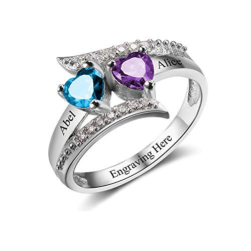 Lam Hub Fong Personalized Mothers Rings with 2 Simulated Birthstones Womens Engagement Rings