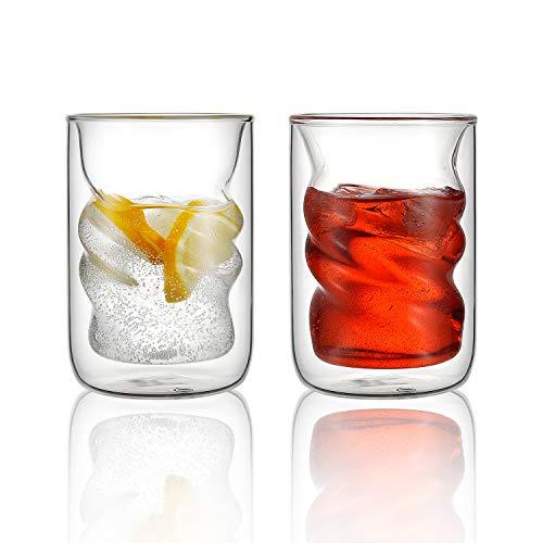 Isolierte Gläser und Kaffeetassen, 2er-Set Doppelwandige Espressotassen, spiralförmig, doppelwandig, Thermo-Tassen, 240 ml, perfekt für Getränke, Thermo-Effekt