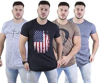 Kit 04 Camisa Masculina Longline Estampadas Algodão/poliéster