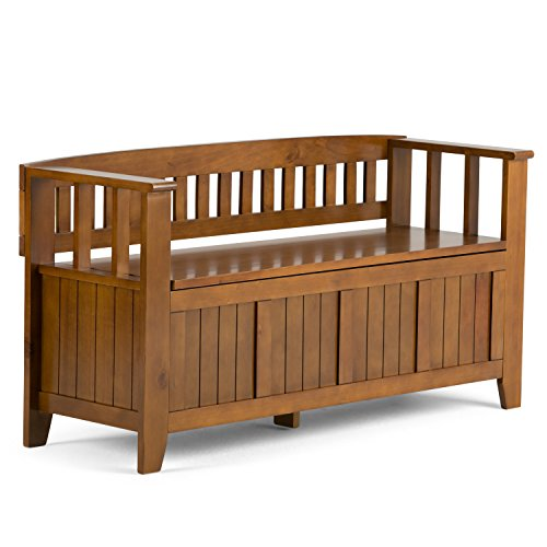 Simpli Home INT-AXCACA-EB-ALB Acadian Solid Wood 48 inch Wide Rustic Entryway Storage Bench in Light Avalon Brown