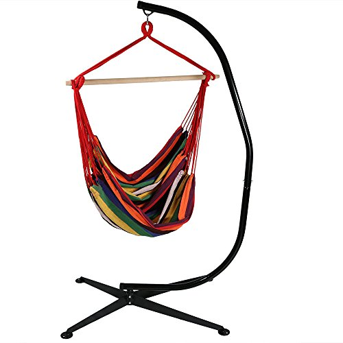 Sunnydaze Hanging Rope Hammock Chair Swing with C-Stand - Jumbo Extra Large Hanging Chair Seat with Stand for Backyard & Patio - 300 Pound Capacity - Sunset