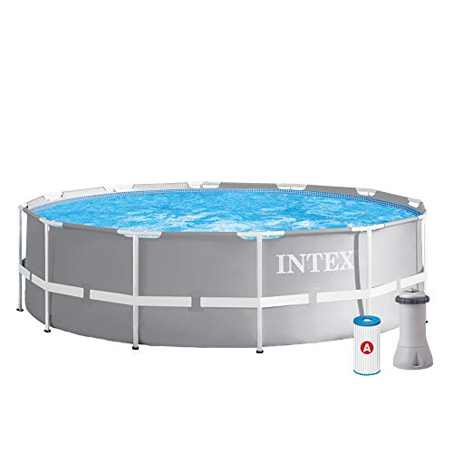 Intex 12FT X 39IN Prism Frame Pool Set sobre la Piscina, Gris, 366x99