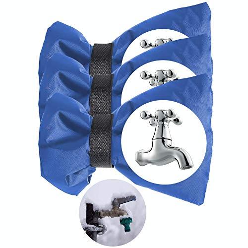 SwirlColor Funda Grifo Exterior Cubiertas de Grifo para Invierno Anticongelante Impermeable Cubierta de Protección de Grifo de JJardín al Aire Libre Tamaño Grande 3 Piezas (Azul)