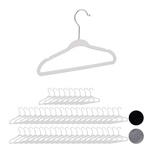 Relaxdays 50er Set Kinderkleiderbügel Samt, rutschfeste Kleiderbügel, Steg & Kerben, für Mädchen & Jungen, drehbar, weiß
