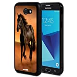 Galaxy J7 V/J7 Perx/J7 Sky Pro/J7 Prime/J7 2017/Halo Case,AIRWEE Slim Shockproof TPU Bumper Back Protective Case for Samsung Galaxy J7 2017,Dark Brown Horses Running