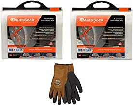AutoSock AS685 (2 Sets) Traction Wheel and Tire Cover for Ice & Snow Easy Install Tire Chain Alternative with Free Frost Breaker, Brown, Acrylic Glove, Large