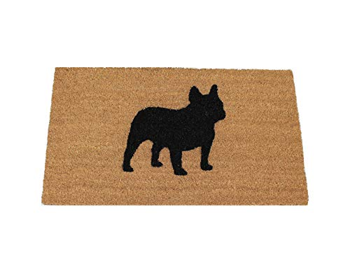 UncommonDoormats French Bulldog Silhouette Doormat (18'x30'), Natural coir with black graphic