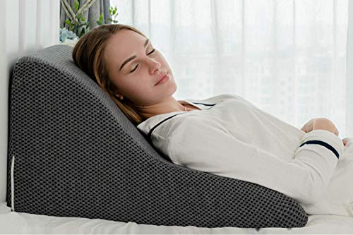 AngQi Supportive Foam Bed Wedge Pillow with Removable Cover – Incline Cushion for Anti Snoring, Heartburn, Reading…