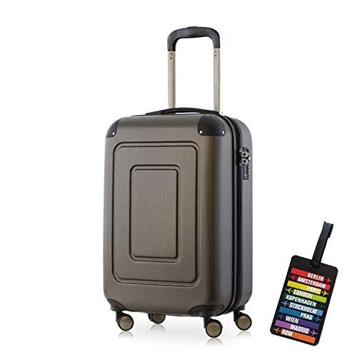 Happy Trolley - Handgepäck Hartschalen-Koffer Koffer Trolley Rollkoffer Reisekoffer Lugano, sehr leicht, TSA, 55 cm, 40L, Grau + HT Kofferanhänger