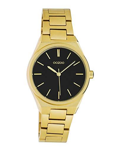 Oozoo Unisex Armbanduhr mit Edelstahl Gliederarmband 34 MM Goldfarben/Schwarz C10528