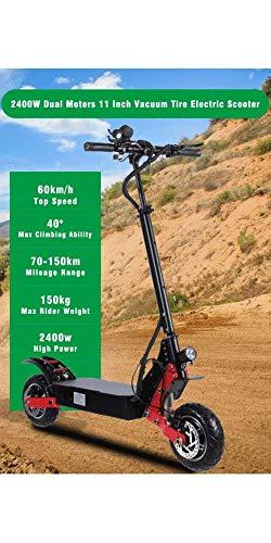 Elektrische bicycle Fashions elektrische scooter voor volwassenen, borstelloze motor, 52 V2400 W max. Snelheid 60 km/u extra grote 11 inch banden offroad elektromotorfiets offroad liefhebbers