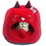 Petlicious & More Cat House for Kittens House Soft Warm Rabbit Hut Frustum-Shape Guinea Pig Bed Hideout with Removable Cushion (Color- Red, Pack of One)