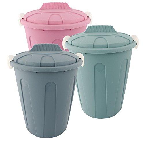 Centi Wäschetonne Abfalleimer Mülleimer farbig mit Deckel 23 Liter 3 Stück Set