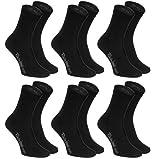 Rainbow Socks - Hombre Mujer Calcetines Colores de Algodón - 6 Pares - Negro - Talla 36-38