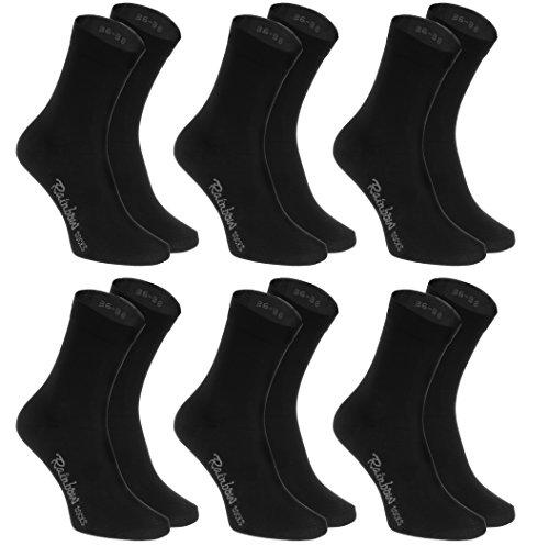 Rainbow Socks - Hombre Mujer Calcetines Colores de Algodón - 6 Pares - Negro - Talla 42-43