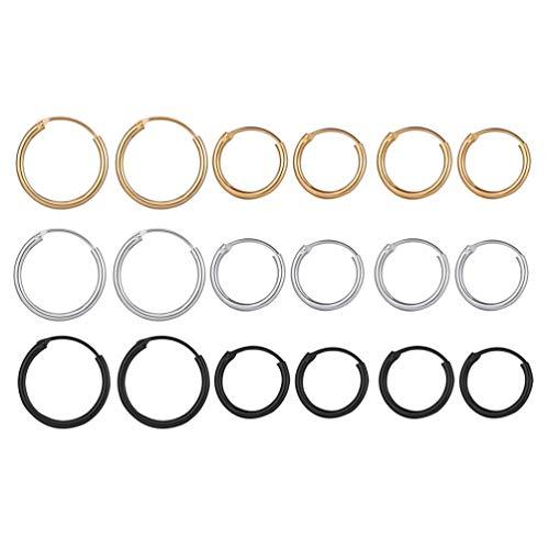 Holibanna 9Pairs Clicker Hoop Ring Hypoallergenic Endless Hoop Earrings Cartilage Nickel Free Earrings Set Gold Silver Black