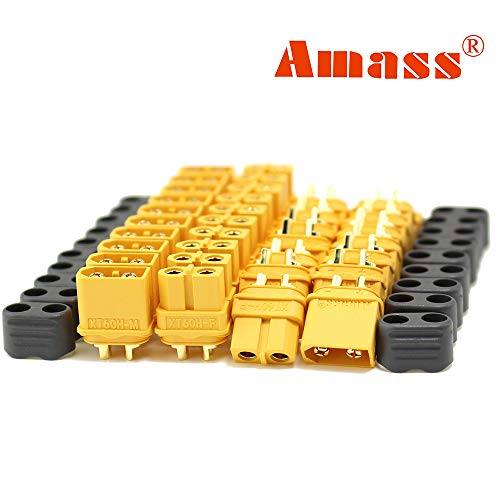 Amass 20 Pair XT60H Bullet Connector Plug Upgrated of XT60 Sheath Female & Male Gold Plated for RC Parts … … …