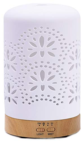 Diffusers for Essential Oils Ceramic Aromatherapy Diffuser in White for Christmas New Year Gift, Cool Mist Humidifier for Home Office Bedroom—4 Timer 120 ml Night Lights and Auto Off, BPA-Free(Floral)